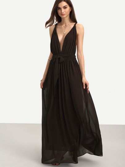 Brown Sleeveless V Neck Tie Waist Maxi Dress