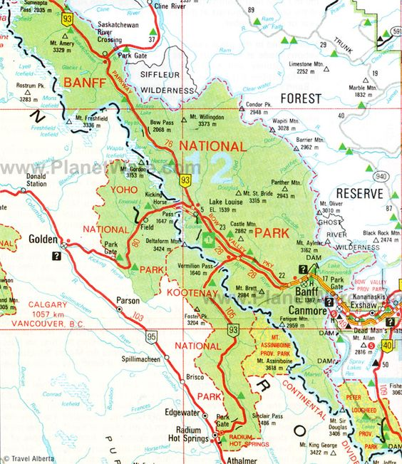 map of banff national park – Tourist Attractions Map In Canada