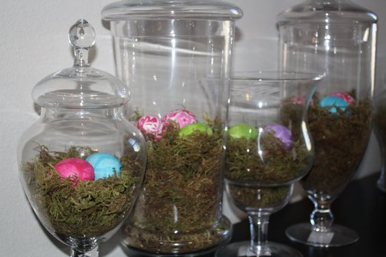 #easter #decor #moss #glass #jars #eggs
