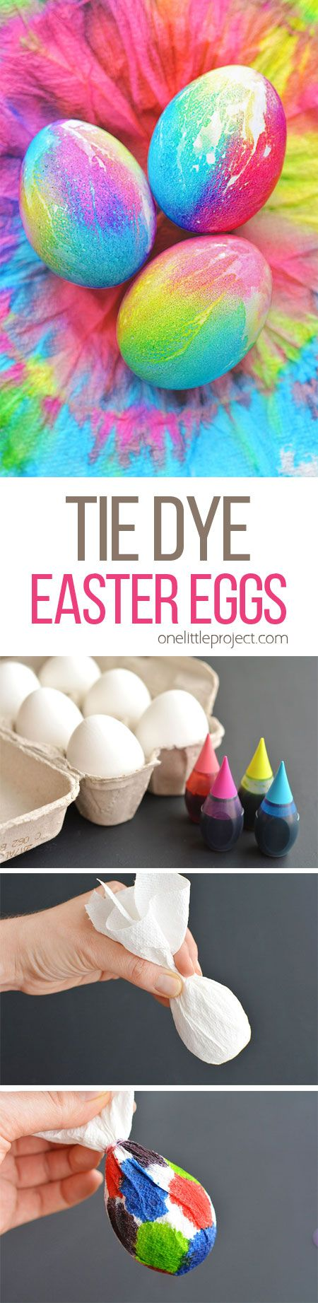 These tie dye Easter eggs are SO FUN and they're so simple to make! The colours are bright and beautiful and the eggs are completely safe to eat!: