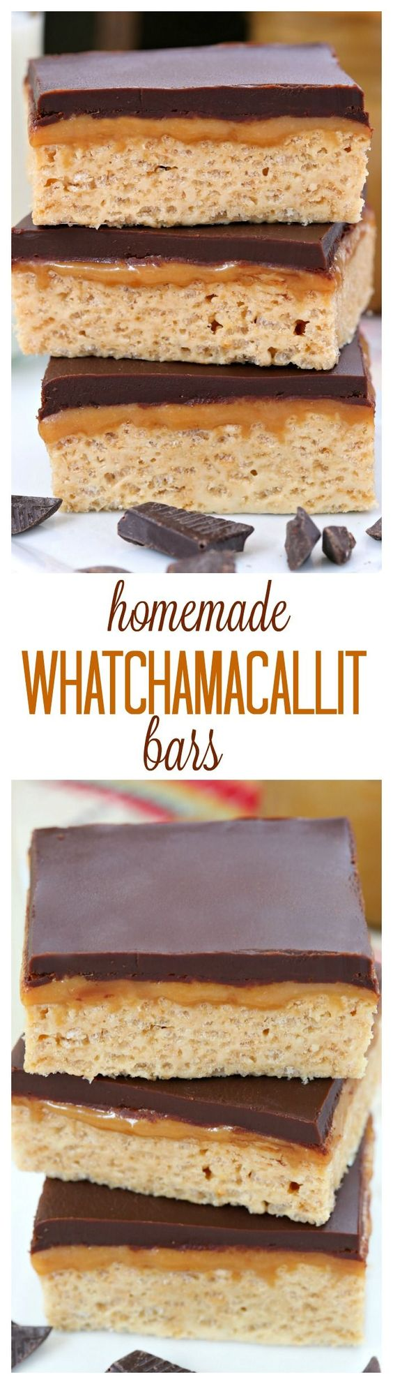 All you need is a handful of ingredients and 20 minutes of your time to make these chewy peanut butter bars topped with a layer of caramel and chocolate ganache. A delicious homemade version of the Whatchamacallit® candy bar!: