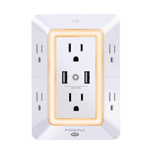 Usb Wall Charger Surge Protector Powrui 6 Outlet Extend Https Www Amazon Com Dp B07ccgbb7m Ref Cm Sw R Pi With Images Outlet Extender Usb Wall Charger Wall Outlets