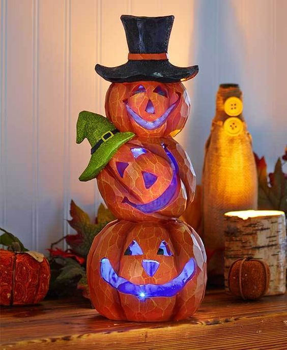 "14"" Lighted Stacked Pumpkins Outdoor Halloween Decorations Color Changing…"