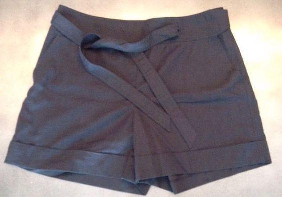 Ann Taylor Shorts Size 12 Black Linen Blend Cuffed Tie Waist   eBay
