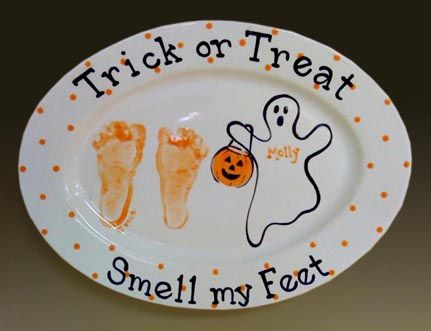 Footprints placed on ceramic plate perfect for halloween for Handprint ceramic plate ideas