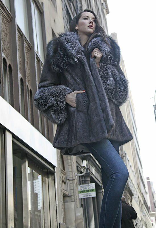 Marc Кауфман Furs синий Iris норки Пальто с чернобурки манжеты и воротник размер 2-20