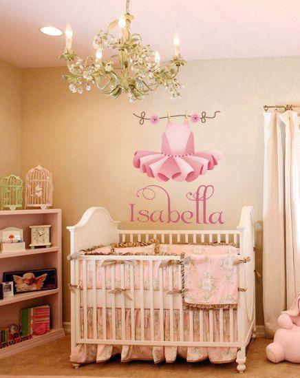 Nursery ballerina tutu name wall decall monogram nursury for Baby name nursery decoration