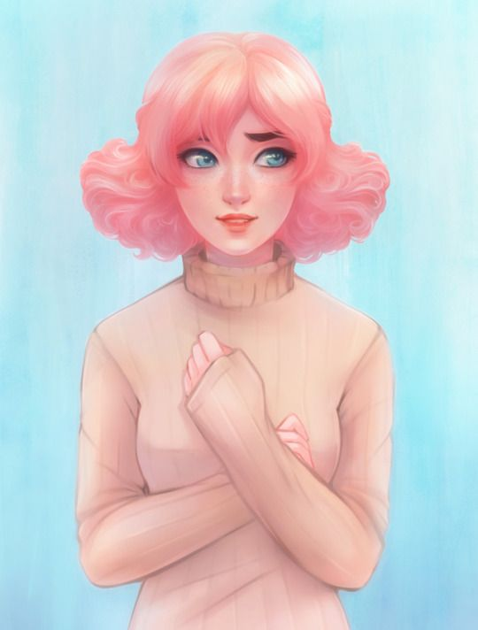 Girl With Pink Hair Drawing : drawing, Drawings, Paintings