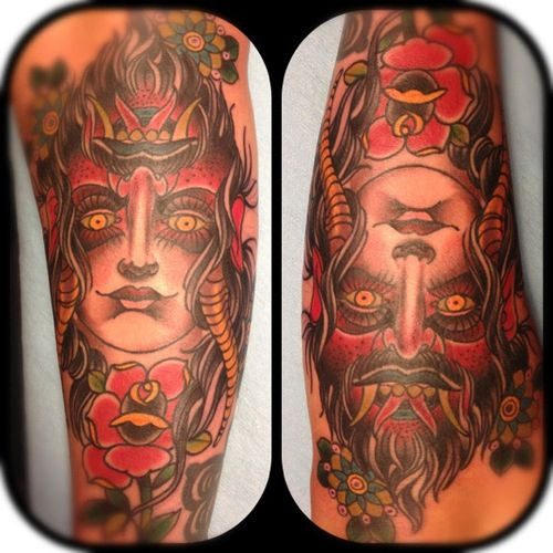 Two faces devil and angel on pinterest for Two faced tattoo