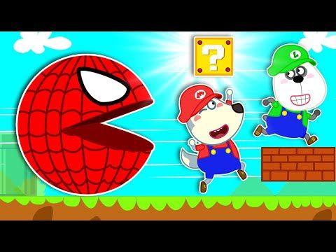 كرتون بالعربي الذئب الصغير يلعب لعبة ماريو Little Wolf Vs Spider Pacman Wolfoo Arabic Youtube Mario Games For Kids Mario Games Funny Cartoon Gifs