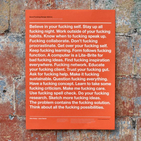 """Good F*cking Design Advice"" poster"