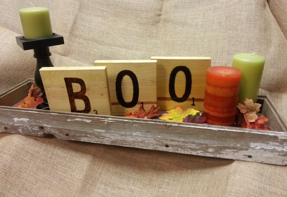 Turn a barn wood tray into a beautiful fall centerpiece.