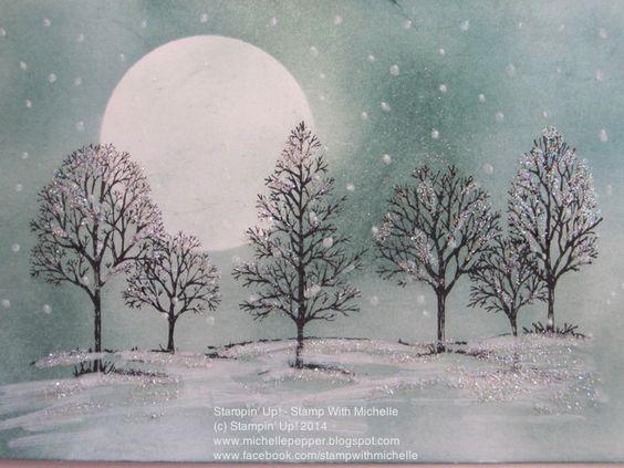LovelyAsATree_SnowingWinterScene by Michelle Pepper (Akl, NZ), Lovely As A Tree, Masking, Sponging Stampin' Up!