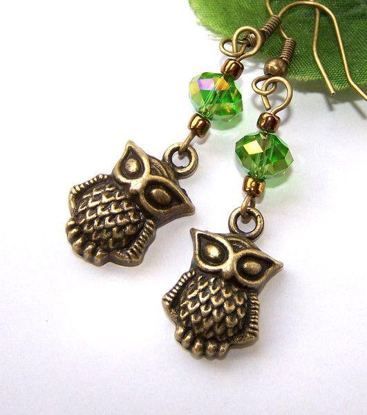 Ohrringe °Eulen + funkelndes grün° von glanzundgeschmeide auf DaWanda.com