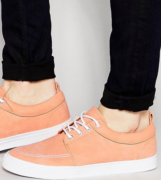 Peach Faux Suede Sneaks