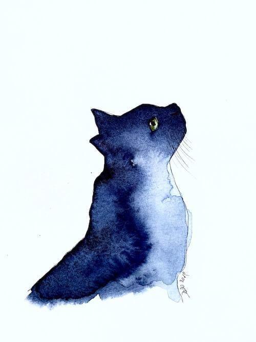 Aquarell Katze Auf Dem Grunde Deiner Grunen Augen Aquarell