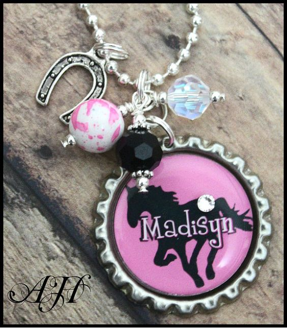 Personalized horse bottlecap  charm by midwestcharmAH on Etsy, $16.50