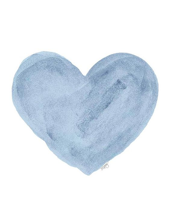 Blue Nursery Heart Watercolor Painting Blue by OutsideInArtStudio, $18.00: