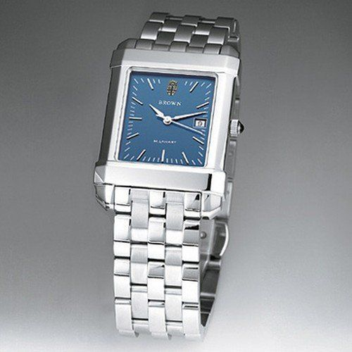 """Brown University Men's Swiss Watch - Blue Quad Watch with Bracelet by M.LaHart & Co.. $299.00. Classic American style by M.LaHart. Three-year warranty.. Officially licensed by Brown University. Swiss-made quartz movement with 7 jewels.. Attractive M.LaHart & Co. gift box.. Brown University men's steel watch featuring Brown seal at 12 o'clock and """"Brown"""" inscribed below on the blue dial. Swiss-made quartz movement with 7 jewels. Blue dial with hand-applied, fac..."""