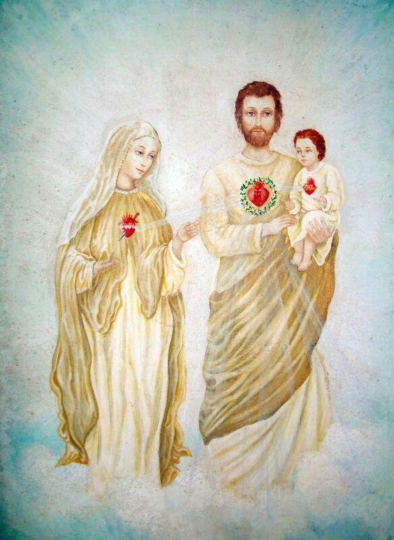 La Sagrada Familia: Corazones de Jesús, José y María ...