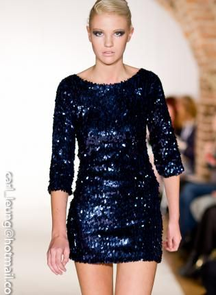 Kami Shade Bring On The Night Navy 3/4 Sleeve Sequin Dress F ...