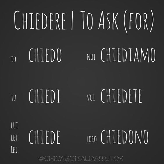 chiedere | to ask (for) {day 43} #chiedere #toaskfor #parliamoitaliano #impariamoitaliano #speakitalian #learnitalian #studyitalian #travelitaly #italy #italia #italiano #italian #chicagoitalian #italiantutor #dailyitalian #verbchallenge #100daysofsummer http://www.chicagoitaliantutor.com/100-days-of-verbs.html