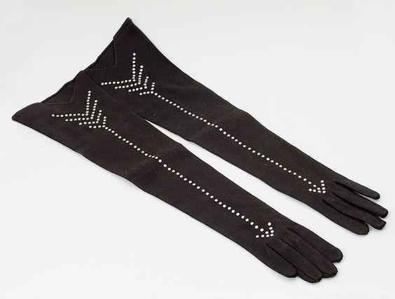 Jean Dessès Rhinestone Evening Gloves ca. 1950s cotton, rhinestone