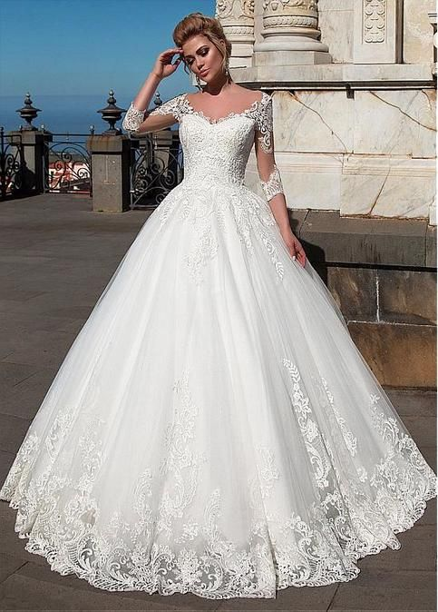 2018 Vintage Lace Ball Gown Wedding Dress 3 4 Sleeve V Neck Modest Custom Summer Br In 2020 Wedding Dresses Lace Ballgown Wedding Dress Organza Ball Gown Wedding Dress
