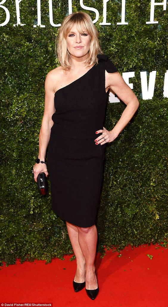 Simple yet chic: Ashley Jensen looked amazing in a fitted LBD as she struck a pose for sna...