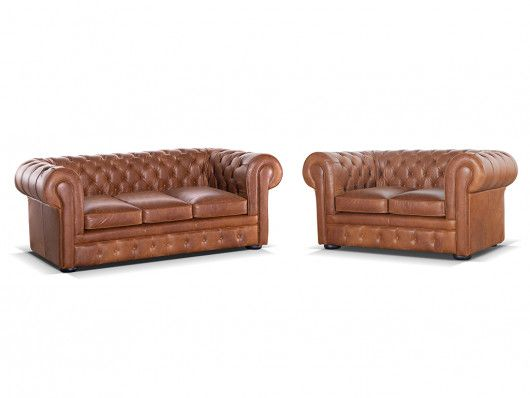 Canape Chesterfield 3 2 Places 100 Cuir Londres Cuir Vintage Caramel Canape Chesterfield Chesterfield Cuir Vintage