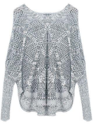 durchlöcherter Langarm-Pullover mit V-Ausschnitt, grau 13.52