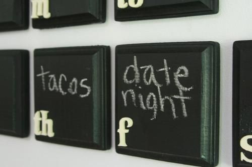 calendar made of wooden squares & chalkboard paint. what a NEAT idea!! @Brian Stephens lets do this! We could just have one week up at a time!