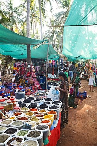 Spice shop at the Wednesday Flea Market in Anjuna, Goa, India