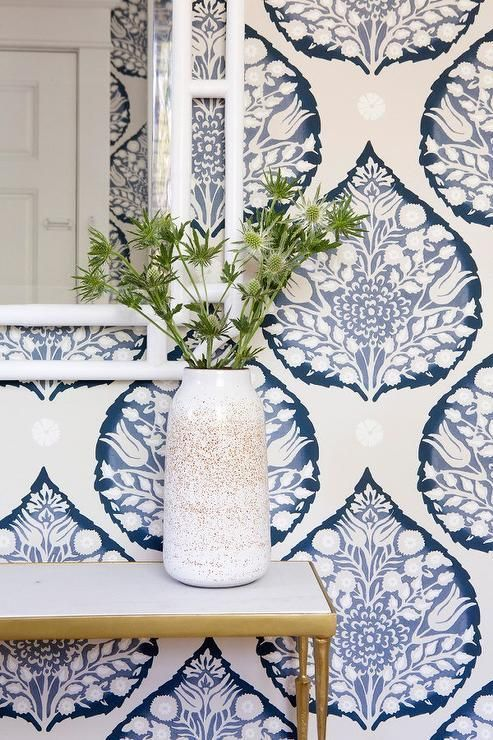Galbraith & Paul Lotus Wallpaper. Megan Bachman Interiors. Amazing Blue and White Traditional Interior Design Ideas!