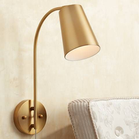 Sully Warm Brass Plug In Wall Lamp, Plug In Wall Sconce Lamps Plus