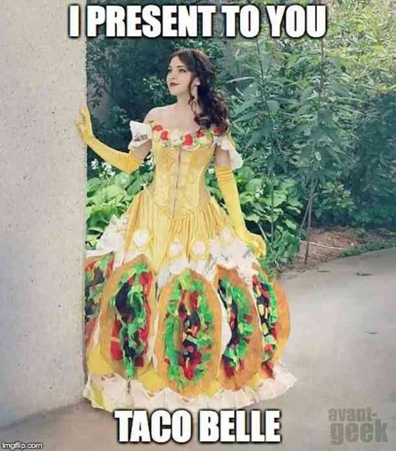 Taco-Belle Halloween costume.  #halloween #halloween-costume #costume-ideas #funny-halloween-costumes #punny-costumes #pun-costume Follow us on Pinterest: www.pinterest.com/yourtango