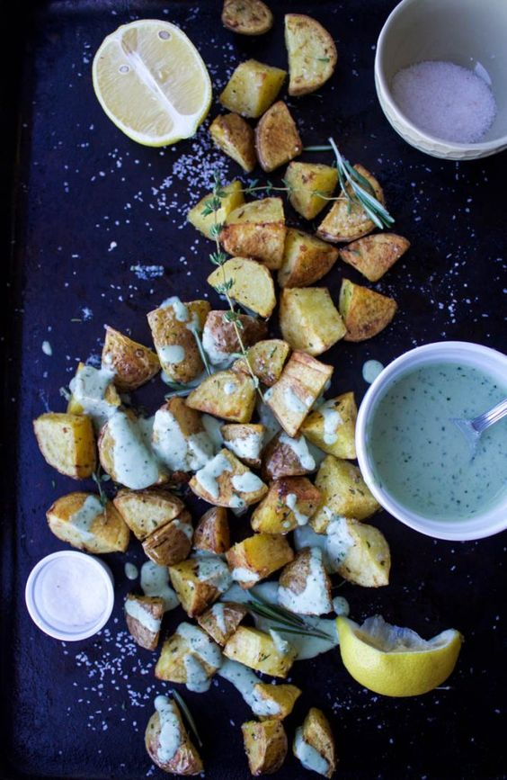 Garlicky Roasted Potatoes With Green Goddess Tahini | Earth & Oven