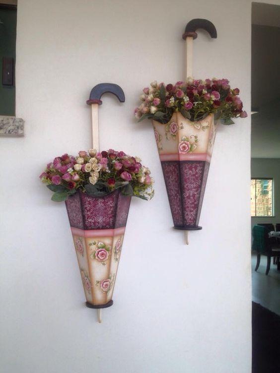 guarda chuvas de mdf com flores: