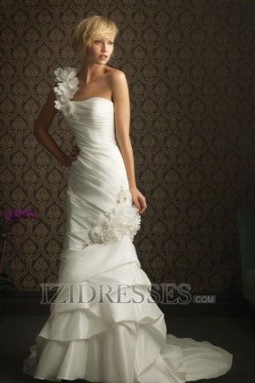 Trumpet/Mermaid Empire One Shoulder Taffeta Beach Wedding Dresses