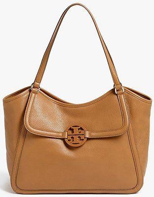 replica hermes bag - NWT TORY BURCH Amanda Easy Tote Royal Tan Pebbled Leather Handbag ...
