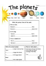 comparative and superlative basics with planets | Solar System ...