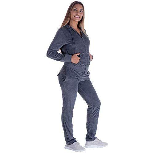 Women/'s Athletic Soft Velour Zip Up Hoodie /& Sweat Pants Set Jogging Suit NEW