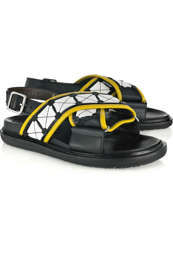 MARNI Checked Leather Flat Sandals. #marni #shoes #flats