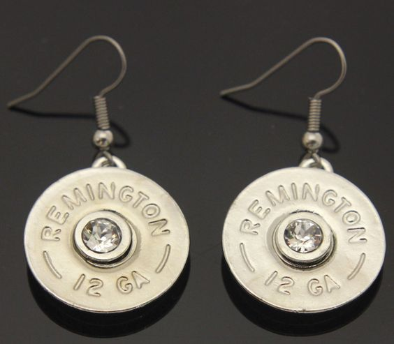 Shotgun Shell Silver with Crystal Earrings