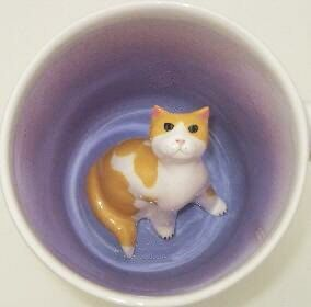 Yellow Spotted Cat Surprise Mug Made to Order by SpademanPottery, $29.00