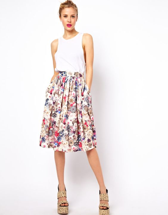 Midi Skirt in Floral Jewel Print...: