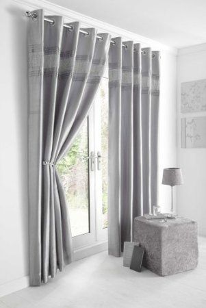 Kitchen Curtains black and silver kitchen curtains : SILVER GREY & DIAMANTE PANEL - LINED CURTAINS WITH EYELET RING TOP ...
