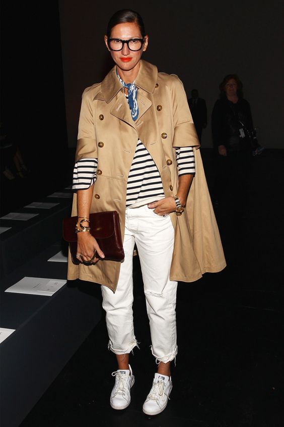 White pants, striped shirt & trench: