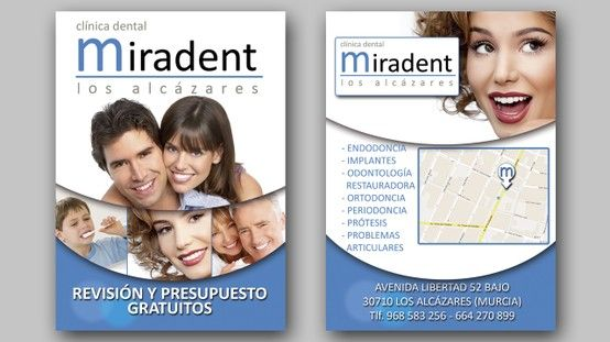 "Diseño gráfico e impresión de panfletos para "" Clínica Dental Miradent "" de Los Alcazares."