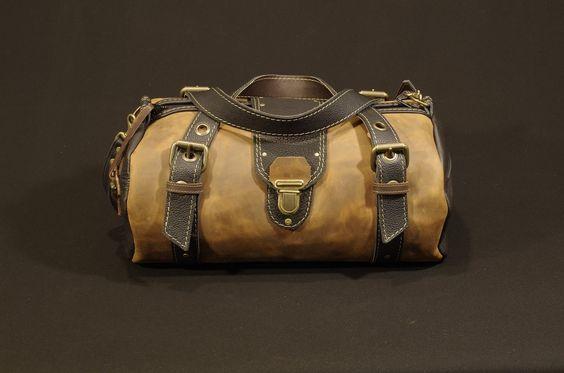 """sac de voyage ,sac """"polochon"""" .en cuir marron et noir homme : Bagagerie par matosha"""